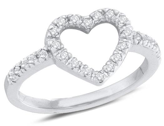 1/5 Carat (ctw H-I, I2-I3) Diamond Heart Promise Ring in 10K White Gold