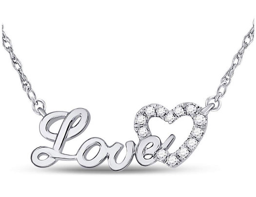 1/6 Carat (ctw Clarity I2-I3) Diamond Love Heart Necklace in 10K White Gold