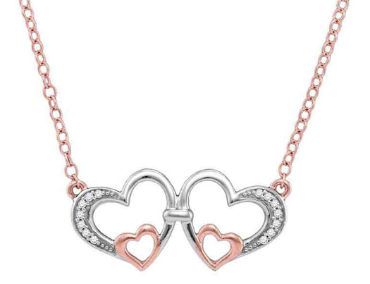 1/20 Carat (ctw Clarity I2-I3) Diamond Heart Necklace in 10K Rose and White Gold