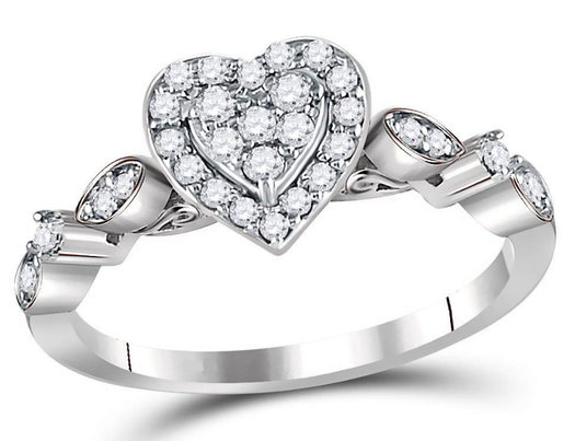 1/3 Carat (ctw H-I, I1-I2) Diamond Cluster Heart Promise Ring in 14K White Gold