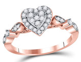 1/3 Carat (ctw H-I, I1_I2) Diamond Cluster Heart Ring in 14K Rose Pink Gold