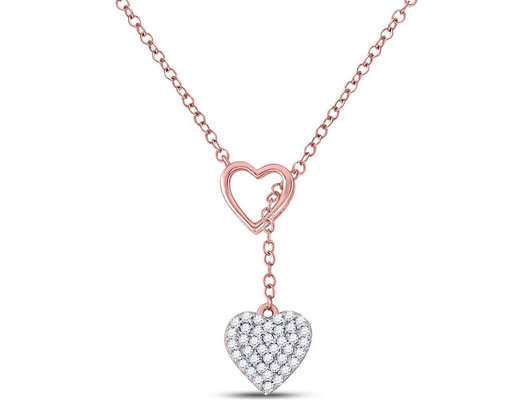 1/6 Carat (ctw) Heart Pendant Necklace in 14K Rose Pink Gold with Chain