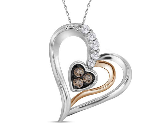 1/10 Carat (ctw I2-I3) Champagne and White Diamond Heart Pendant Necklace in 10K White Gold with Chain