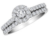 IGI Certified 1.00 Carat (ctw H-I, I2-I3) Diamond Halo Engagement Ring & Wedding Band in 10K White Gold