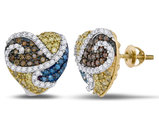 1.20 Carat (ctw I2-I3) Yellow, Blue and White Diamond Heart Earrings in 10K Yellow Gold
