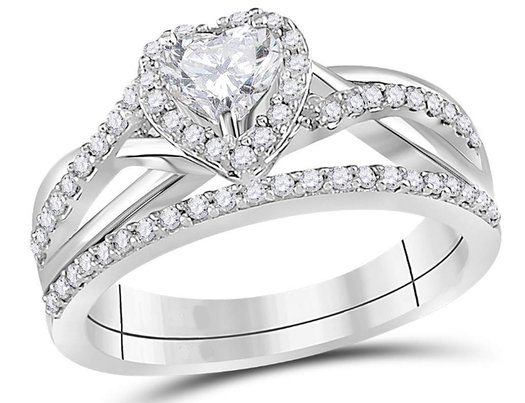7/8 Carat (Color J-K, I2-I3) Heart Cut Diamond Engagement Ring Bridal Wedding Set in 14K White Gold