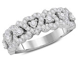 3/4 Carat (ctw H-I, I1-I2) Diamond Heart Promise Ring Wedding Band in 14K White Gold