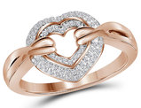 1/5 Carat (ctw J-K, I2-I3) Diamond Heart Ring in 14K Rose Pink Gold