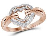 1/5 Carat (ctw J-K, I2-I3) Diamond Heart Ring in 14K Rose Pink Gold