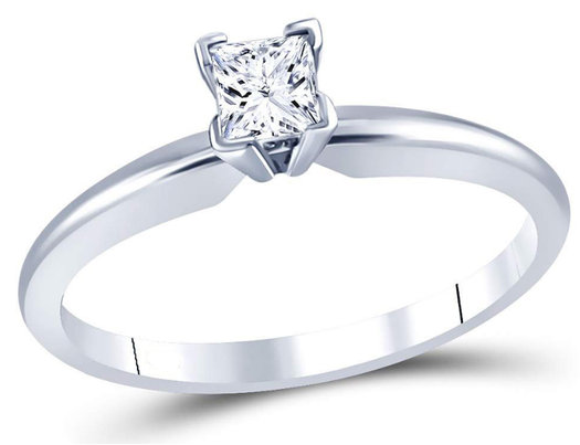 14K White Gold Princess Cut 1/3 Carat (ctw Color J-K Clarity I2-I3) Diamond Solitaire Engagement Ring
