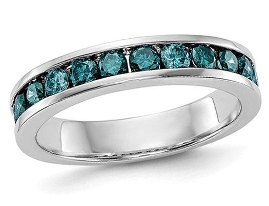 7/10 Carat (ctw) Blue Diamond Wedding Band in 14K White Gold