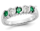 2/5 Carat (ctw) Natural Emerald Ring in 14K White Gold with Diamonds