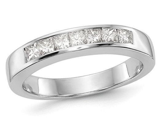 2/5 Carat (ctw Color H-I, I2-I3) Semi Eternity Princess Cut Diamond Wedding Band in 14K White Gold