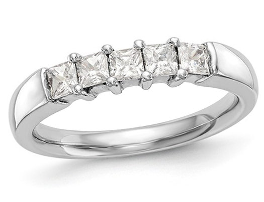 7/10 Carat (ctw I-J, I2-I3) Princess Cut Diamond Anniversary Wedding Band Ring in 14K White Gold