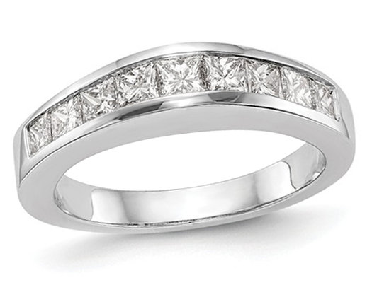 1.00 Carat (ctw H-I, I2-I3) Princess Cut Diamond Wedding Band in 14K White Gold