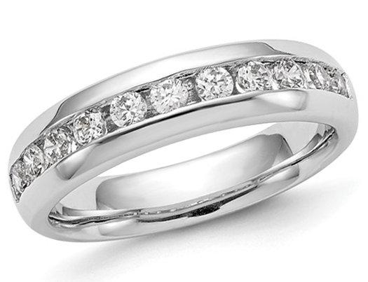 1/2 Carat (ctw H-I, I2-I3) Diamond Wedding Anniversary Band in 14K White Gold