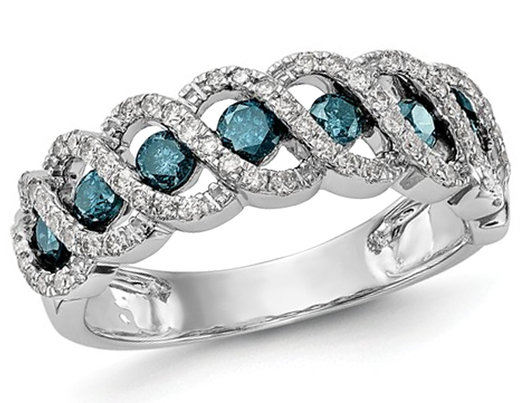 3/4 Carat (ctw) Blue and White Diamond Ring in 14K White Gold