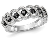 3/4 Carat (ctw) Black and White Diamond Ring in 14K White Gold