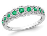 2/5 Carat (ctw) Natural Emerald Ring in 14K White Gold with Diamonds 1/5 Carat (ctw I2-I3)