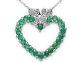 4/5 Carat (ctw) Natural Green Emerald Heart Pendant Necklace in Sterling Silver with Chain