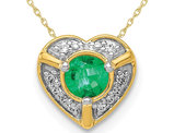 1/4 Carat (ctw) Natural Green Emerald Heart Pendant Necklace in 14K Yellow Gold with Chain