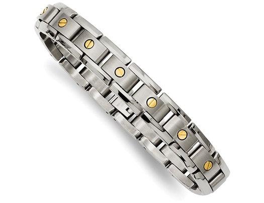 Men's Titanium Bracelet with 14K Inlay 8.25 Inches