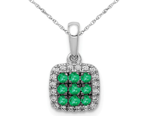 1/6 Carat (ctw) Natural Cluster Emerald Halo Pendant Necklace in 14K White Gold with Chain and Accent Diamonds