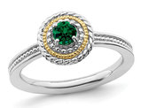 1/4 Carat (ctw) Lab Created Emerald Ring in Sterling Silver with 14K Gold Accent