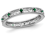 1/8 Lab Created Green Emerald Eternity Band Ring in Sterling Silver