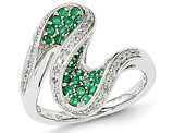 4/5 Carat (ctw) Natural Emerald Swirl Ring in 14K White Gold and Diamonds
