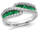 1.20 Carat (ctw) Natural Emerald Band Ring in 14K White Gold with Diamonds 3/5 Carat (ctw)