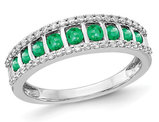 1/2 Carat (ctw) Natural Emerald Band Ring in 14K White Gold with Diamonds 1/4 Carat (ctw)