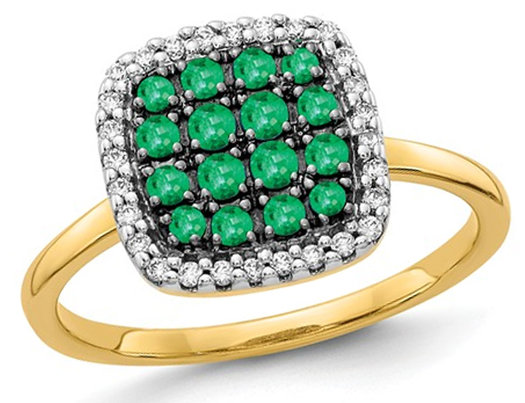 2/5 Carat (ctw) Natural Emerald Cluster Ring in 14K Yellow Gold with Diamonds 1/8 Carat (ctw)
