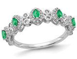 1/2 Carat (ctw) Natural Emerald Band Ring in 14K White Gold with Diamonds 1/3 Carat (ctw)