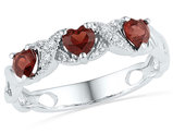 3/4 Carat (ctw) Lab Created Garnet Heart Ring in Sterling Silver with Accent Diamonds