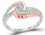 1/10 Carat (ctw I2-I3) Diamond Swirl Ring in 10K White and Rose Pink Gold
