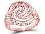 1/10 Carat (ctw I2-I3) Diamond Swirl Ring in 10K Rose Pink Gold