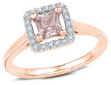 1/4 Carat (ctw) Lab Created Morganite Ring in 10K Rose Gold with Accent Diamonds