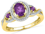 3/4 Carat (ctw) Lab Created Amethyst and Diamond Ring in 10K Yellow Gold