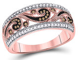 1/4 Carat (ctw) Enhanced Red and White Diamond Ring in 10K Rose Pink Gold