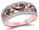 1/4 Carat (ctw) Enhanced Red and White Diamond Ring in 10K Rose Pink Gold