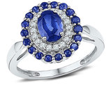 1.62 Carat (ctw) Lab Created Blue Sapphire Ring in 10K White Gold with Diamonds 1/5 Carat (ctw I2-I3)