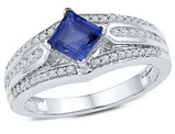 7/8 Carat (ctw) Lab Created Blue Sapphire Ring in 10K White Gold with Diamonds 1/3 Carat (ctw I2-I3)