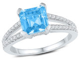 2.75 Carat (ctw) Blue Topaz Ring with Diamonds 1/4 Carat (ctw J-K, I2-I3) in 10K White Gold