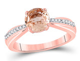 3/4 Carat (ctw) Lab Created Morganite Ring in 10K Rose Gold with Accent Diamonds