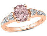 7/8 Carat (ctw) Lab Created Morganite Ring in 10K Rose Gold with Accent Diamonds
