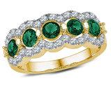1.50 Carat (ctw) Lab Created Emerald Ring in 10K Yelllow Gold with Diamonds 1/2 Carat (ctw)
