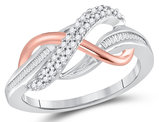 1/5 Carat (ctw I2-I3) Diamond Infinity Ring in 10K White and Rose Pink Gold