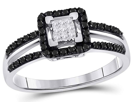 3/10 Carat (ctw I2-I3, J-K) White and Black Diamond Ring in 10K White Gold