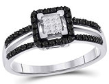 3/10 Carat (ctw I2-I3, J-K) White and Black Diamond Ring in 10K White Gold